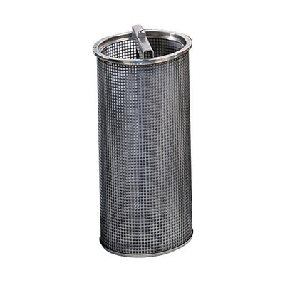 The basket element is suitable for coarse filtration and low contamination. The contamination collects in the basket and can be removed easily